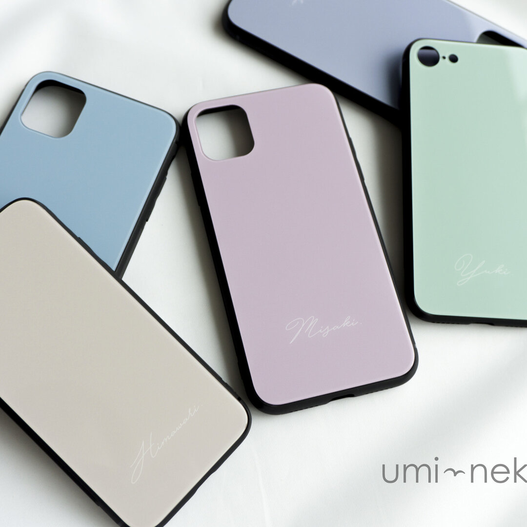 多機種対応 スマホケース ガラス【 くすみカラー 名入れ 】 シャーベットカラー スモーキーカラー  iPhone android JI26U