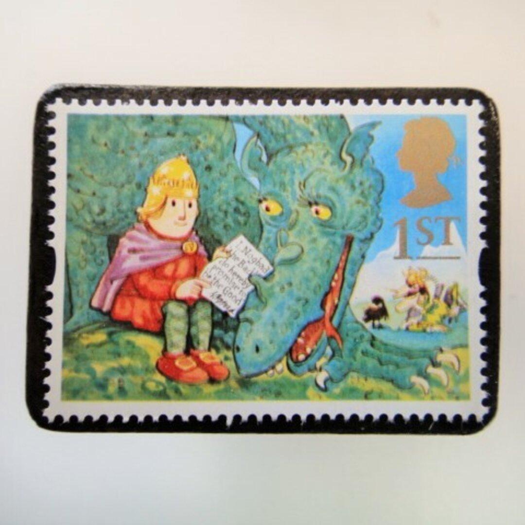 イギリス 童話切手ブローチ3986