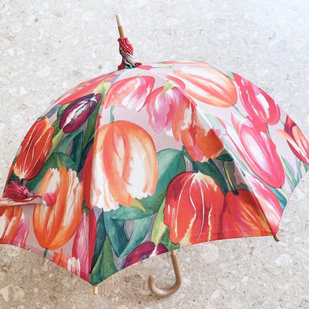 日傘 フランス生地  チューリップ柄