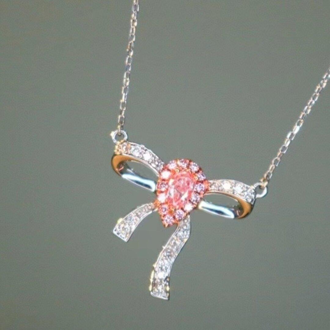 リボンモチーフ 天然ピンクダイヤモンドネックレス0.283ct k18