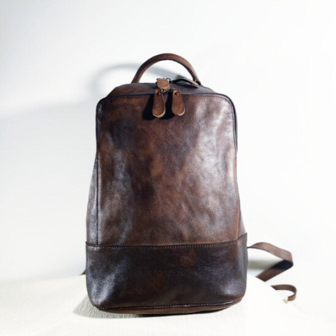 A4対応手染めヌメ革リュックバッグ/斜め掛けバッグ/バックパック