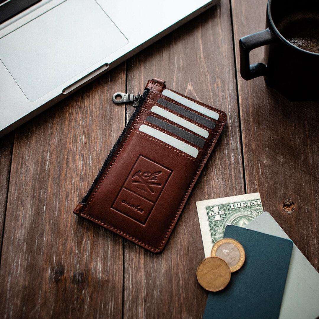 本革カードウォレット スリム レザー 財布 カードケース キャッシュレス 通勤 【ブラウン】