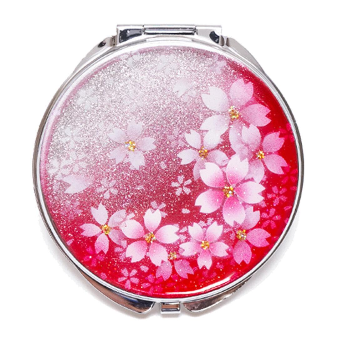 名入れ無料 丸ミラー 春桜 銀箔 コンパクトミラー