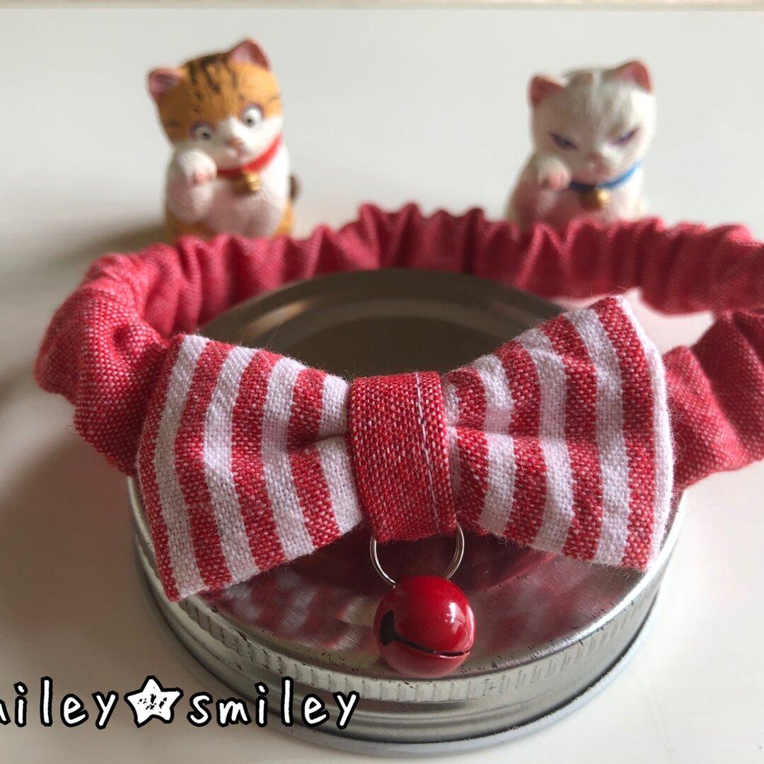 【猫用首輪】ストライプ柄(赤)リボン シュシュ