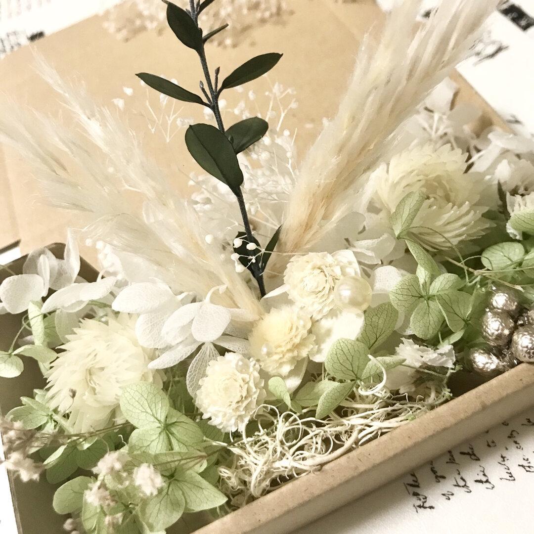 パンパスグラスと千日紅*マカロングリーン*花材詰め合わせ*ドライフラワー花材詰め合わせ