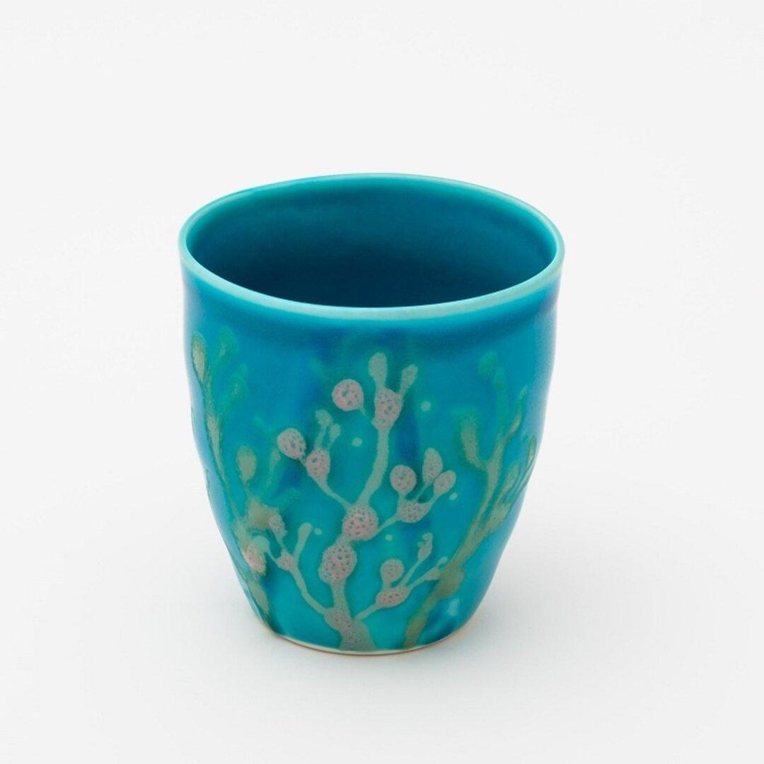 沖縄の海の縁起の珊瑚のタンブラー/フリーカップ/ビアカップ/スカイブルー