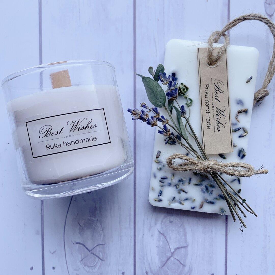 ギフトセット♡パチパチと焚き火のように燃える木製芯キャンドル&ラベンダーのアロマワックスサシェ    (キャンドルの香り選べます)