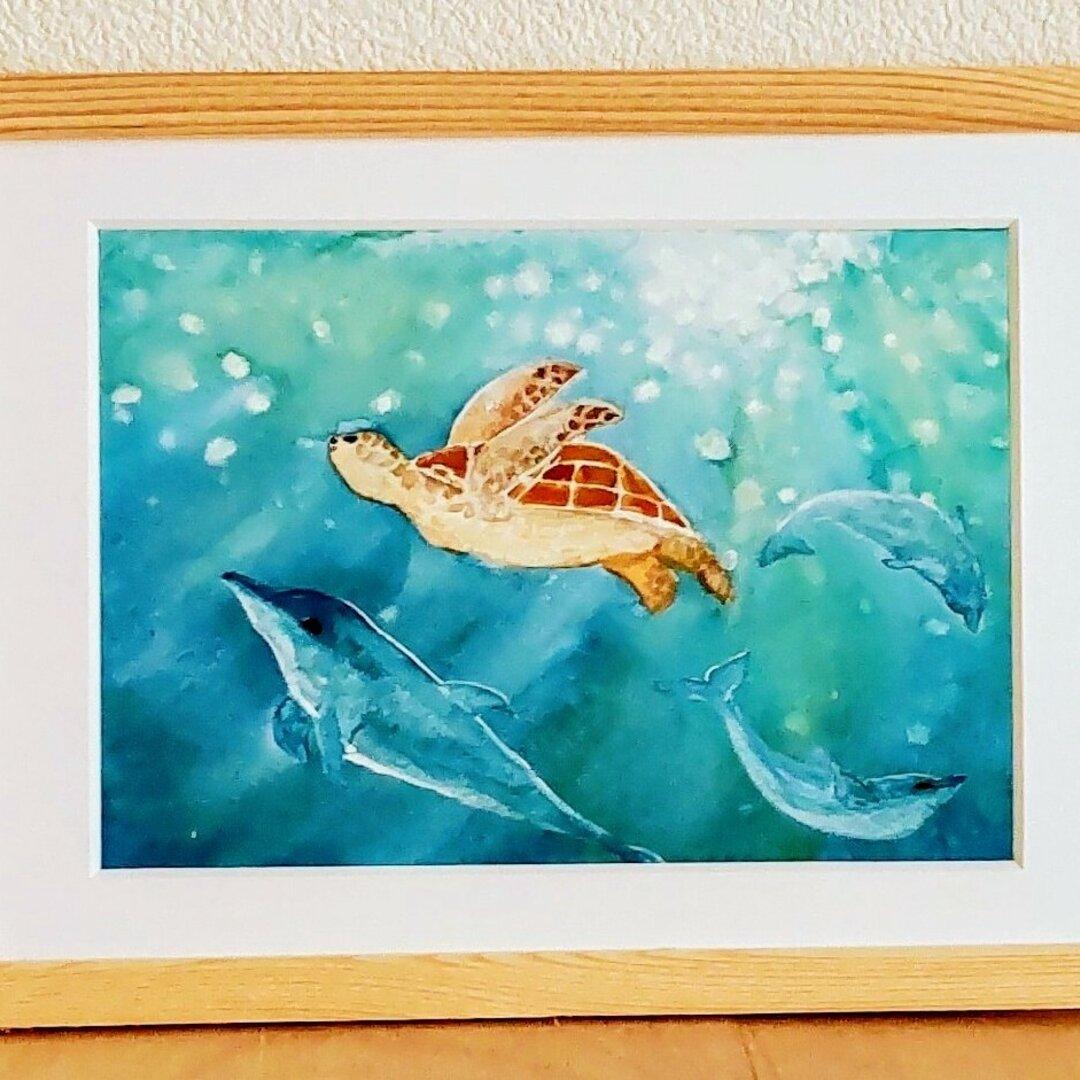 ウミガメとイルカの泳ぐ海(原画)