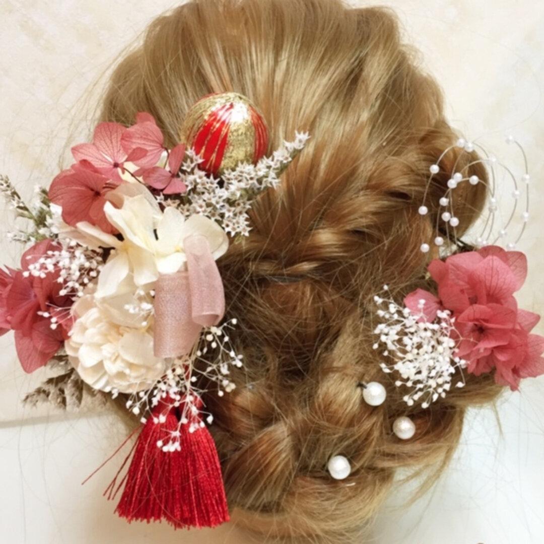 赤     ★♯2 結婚式 成人式 ウェディング 和装 プリザーブドフラワー ドライフラワー 髪飾り ヘッドドレス ヘアドレス
