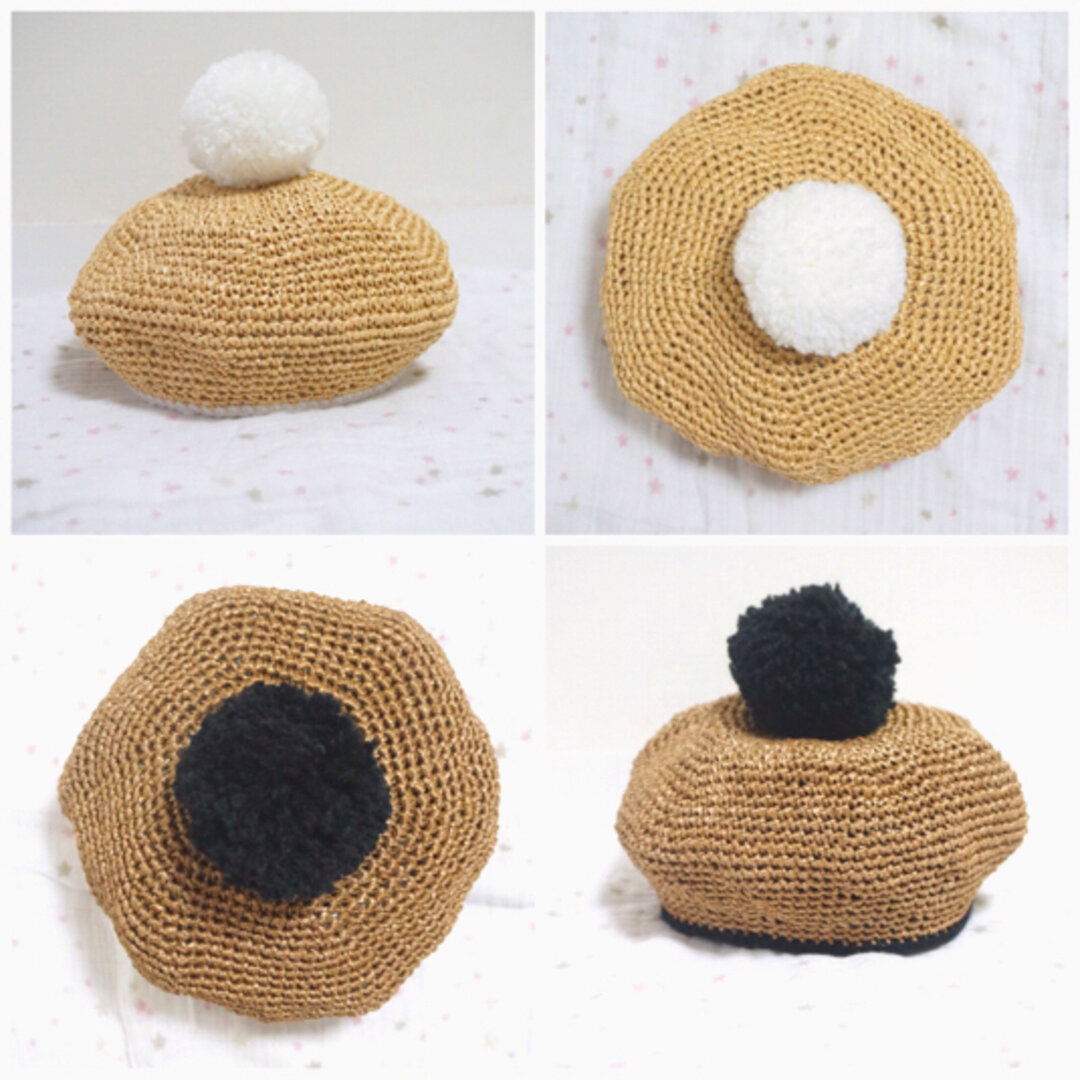 麦わらポンポンベレー帽♡