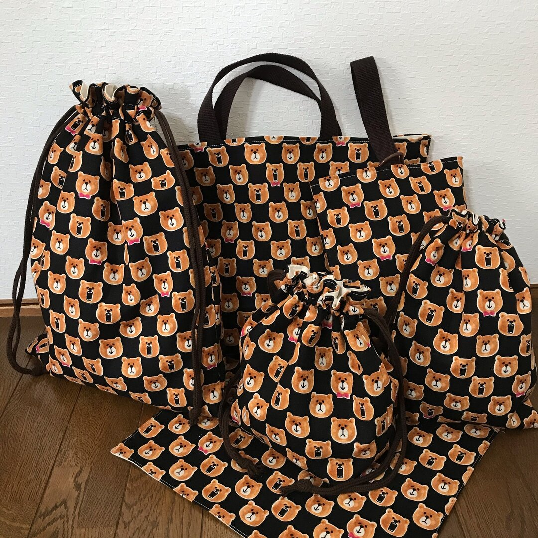 ★入園、入学★レッスンバッグ、お着替え袋、シューズ袋、お弁当袋、コップ袋、ランチマット6点セット