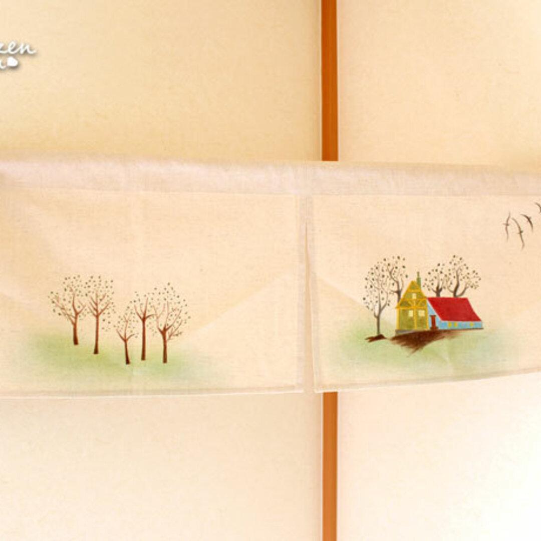 【送料無料】お家と木の手描きショートのれん