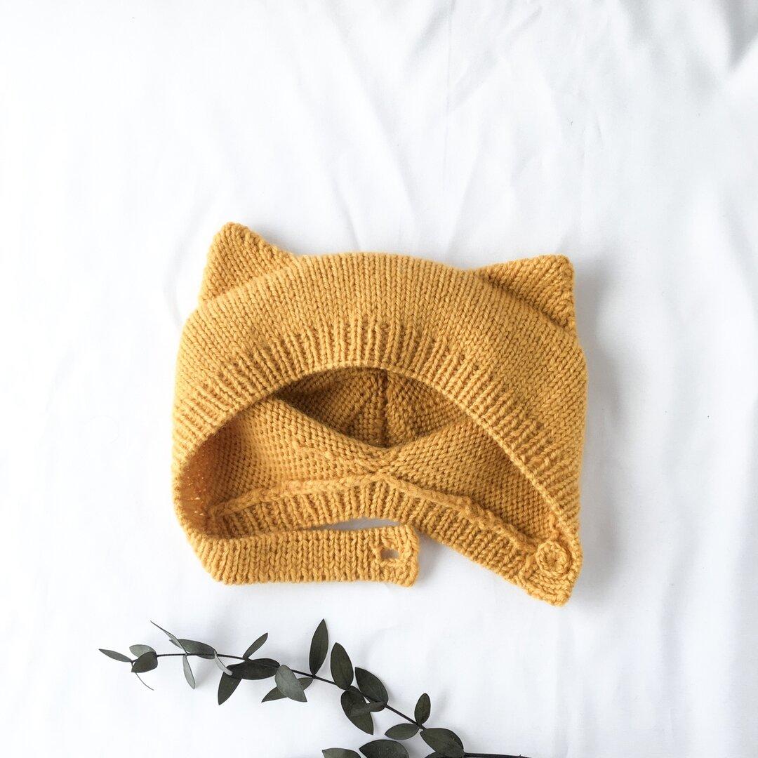 冬のネコ耳ボンネット ベビーニット帽 マスタード 46㎝