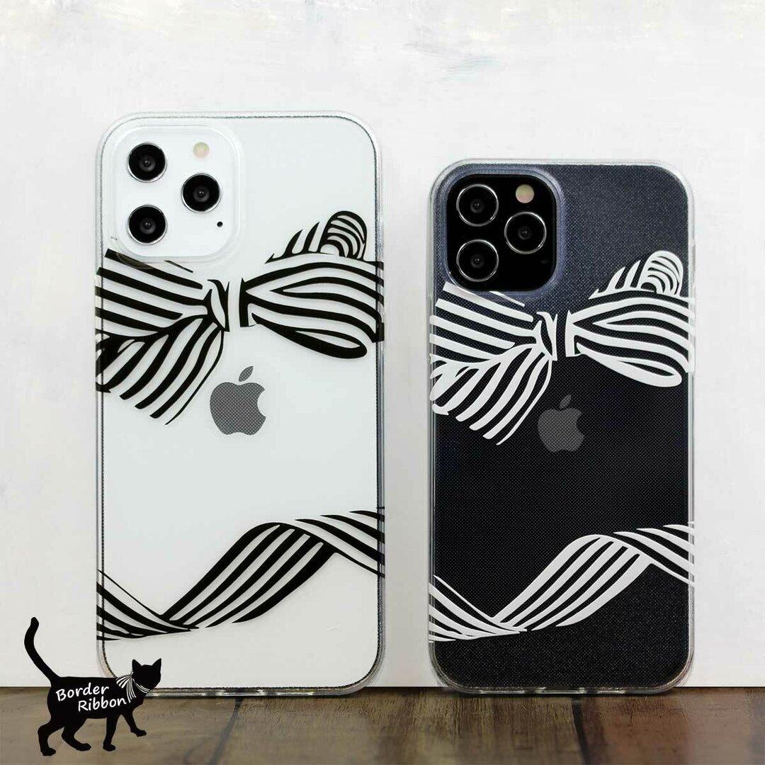 iPhone ケース ボーダー リボン 白 黒 TPUソフトケース  iPhone12 iPhone12mini iPhone12pro iPhone11他 各機種対応
