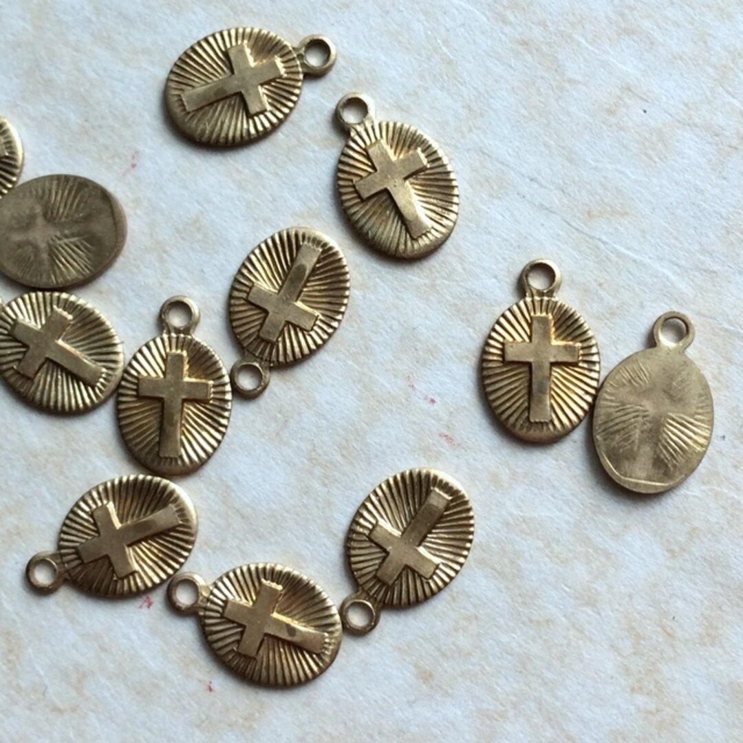 3個セット 真鍮無垢 ヴィンテージ アメリカ製 十字架チャーム