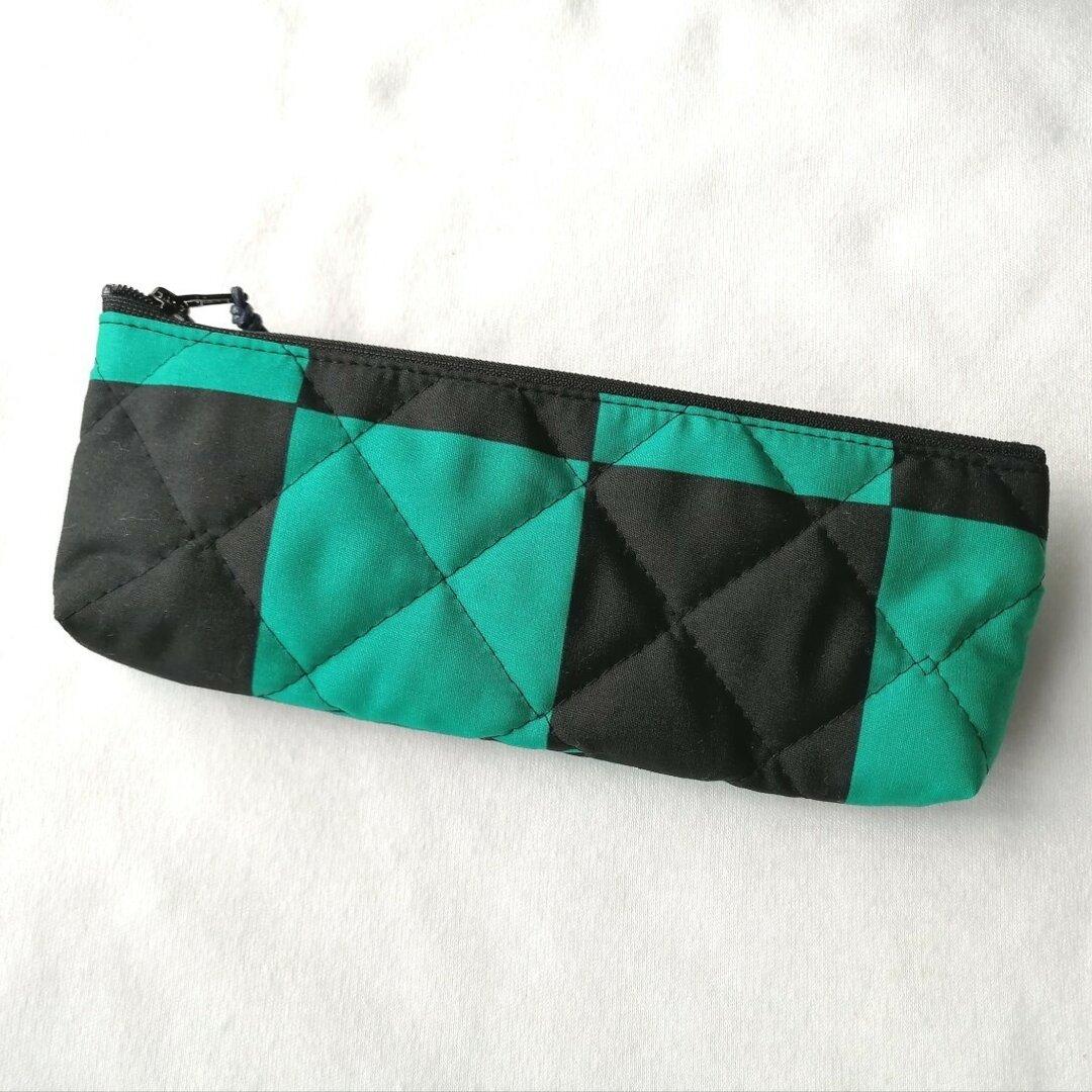 ペンケース 筆箱 緑×黒