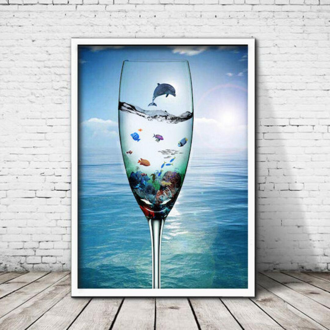 アートポスター470 シャンパングラス 海 イルカ☆ 額縁付き インテリアポスター