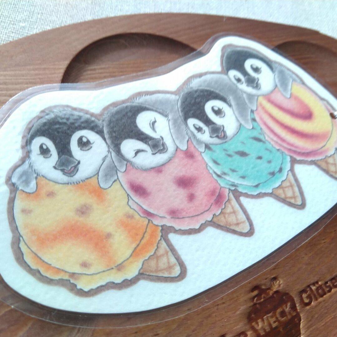 ビッグなしおり☆アイス愛するペンギンベビー