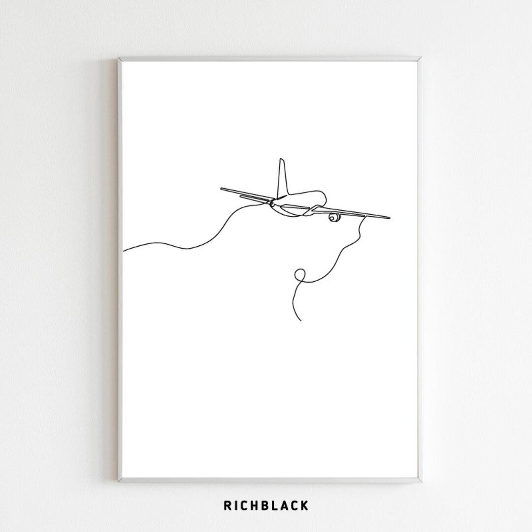 """線画 モノトーン ポスター A1 サイズ """"飛行機"""" 一筆書き 抽象画 ウェルカム 玄関 北欧 北欧風 韓国 アートポスター シンプル モノクロ 白黒 インテリア アート 子供部屋"""
