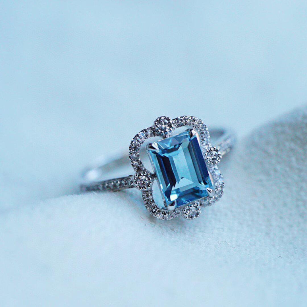 「夢・飛翔」K18イエローゴールド 天然アクアマリン 天然ダイヤモンド リング 和名藍玉もしくは水宝玉 3月誕生石