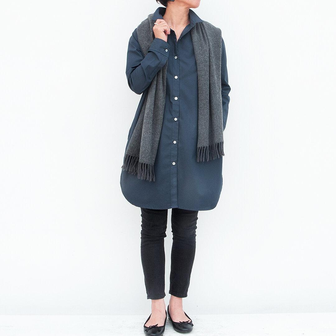 ロングシャツ(ネイヴィー)ー高密度cottonー