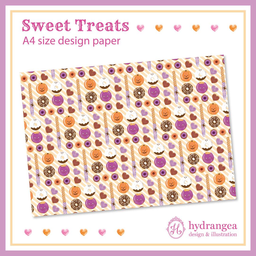 【Sweet Treat-halloween doughnut-】A4サイズ デザインペーパー
