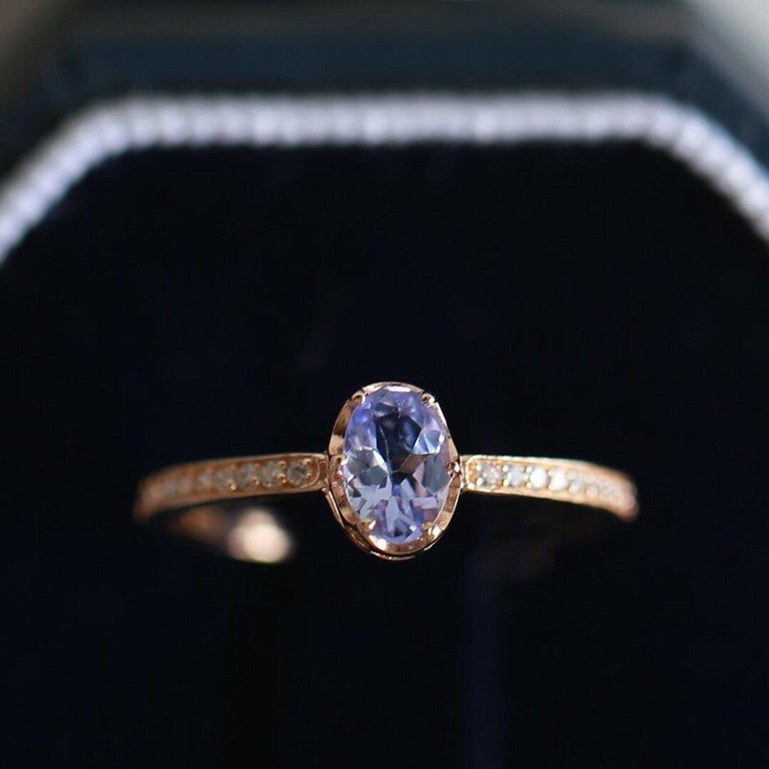K10 10金 ゴールド オーバル型 紫タンザナイト ダイヤモンドリング 天然石 パープル クラシックデザイン タイムレスデザイン レディース 宝石 指輪 卸売価格 高品質 高級品 今なら刻印無料!