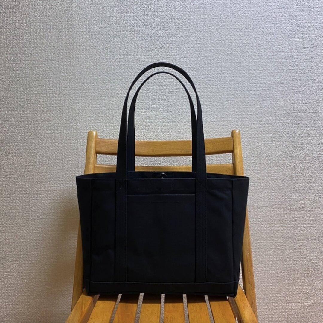 「軽いボックストート」通勤トート「ブラック(黒)✕グレー」倉敷帆布8号【受注制作】