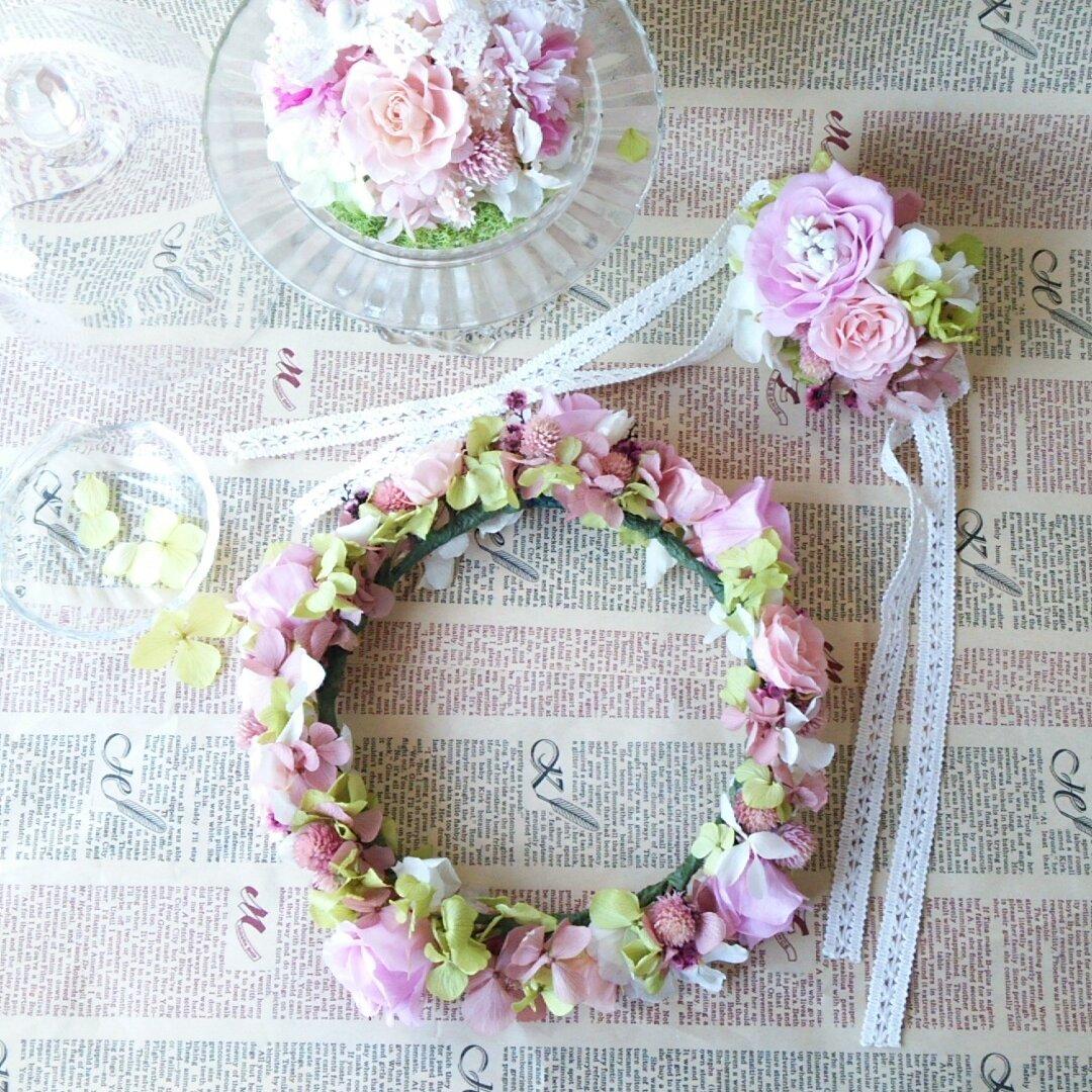 ふんわりシュガー花嫁3点セット*花冠・リングピロー・リストレット*プリザープドフラワー*お祝いギフトにも