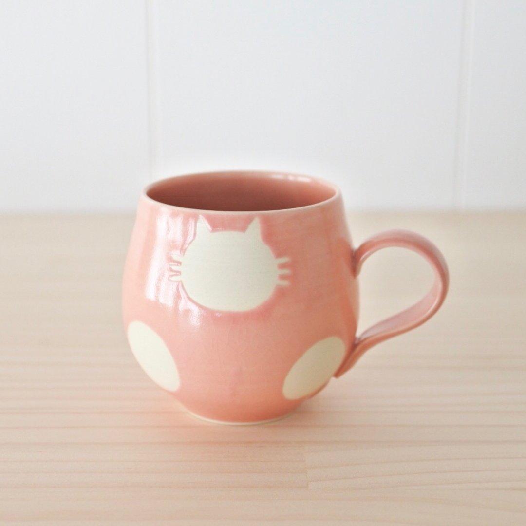 丸マグカップ 白ねこ水玉(桃)受注制作