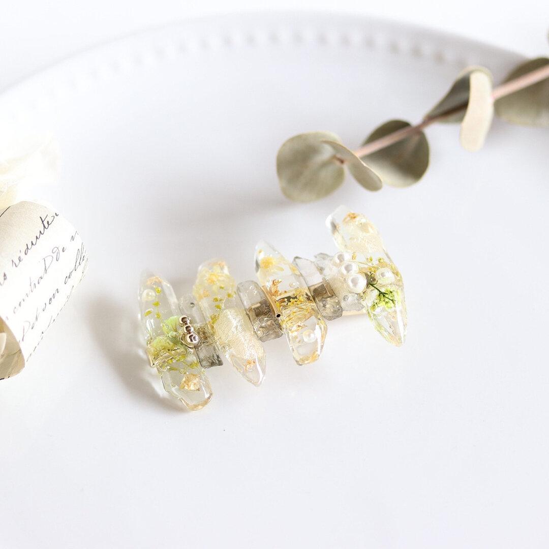 お花の鉱石ランダムヘアクリップ