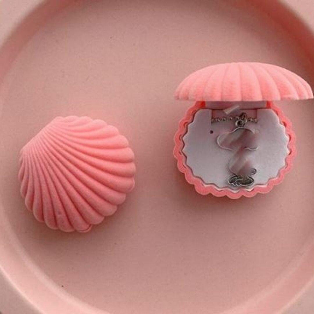 シェル型ピアスケース 「ピンク」 携帯用 貝 アクセサリーケース ピアス イヤリングケース ジュエリーボックス