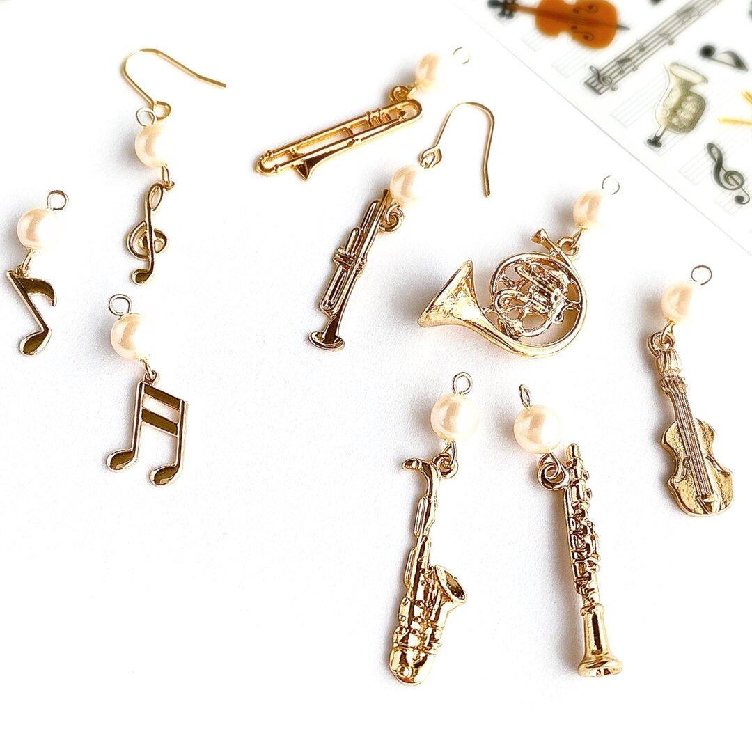 左右選べる♪楽器と音符のゴールドピアス/イヤリング