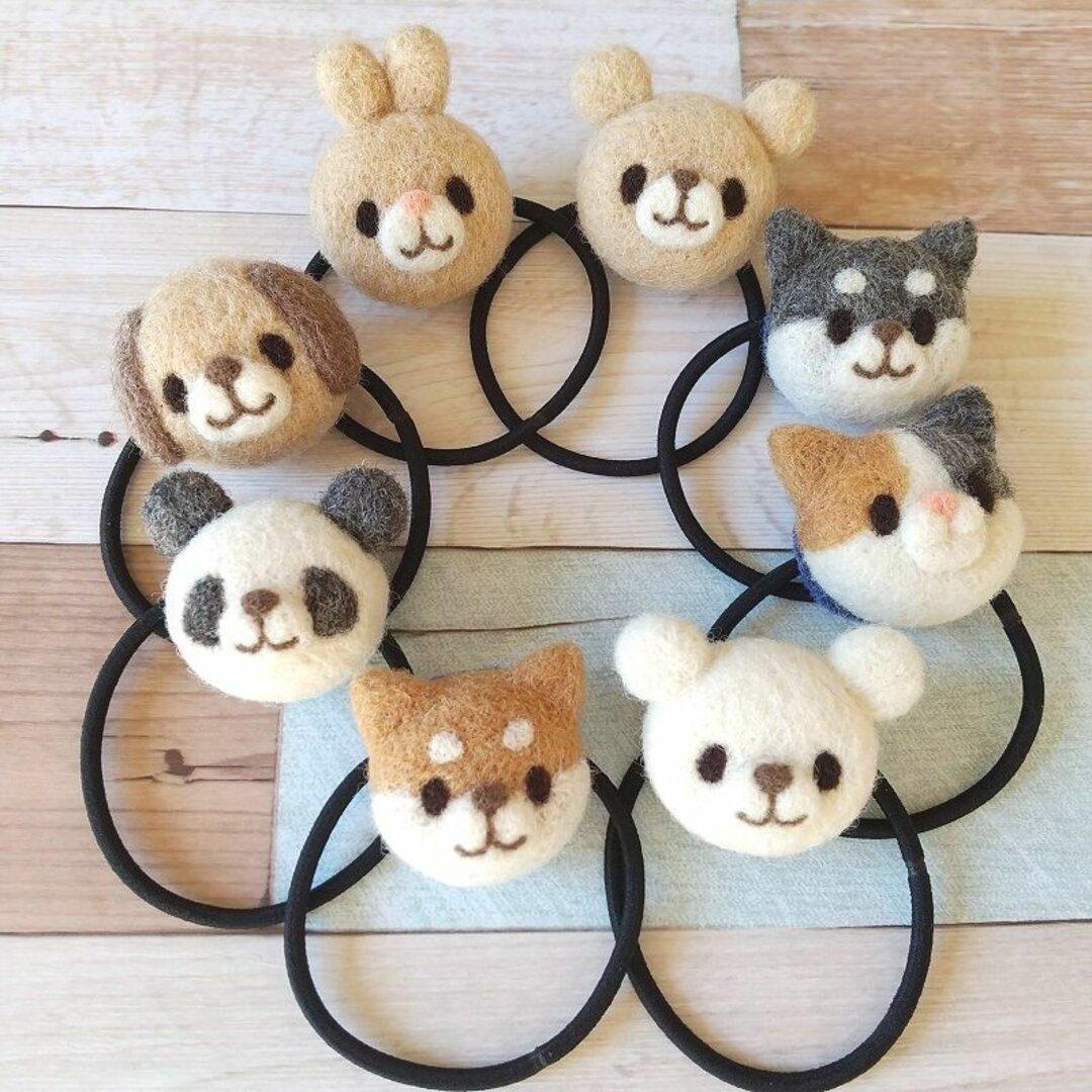 【受注生産】羊毛フェルトの動物ヘアゴム