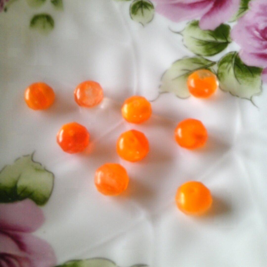 チェコビーズ~ロンデル(オレンジマーブル) 6個
