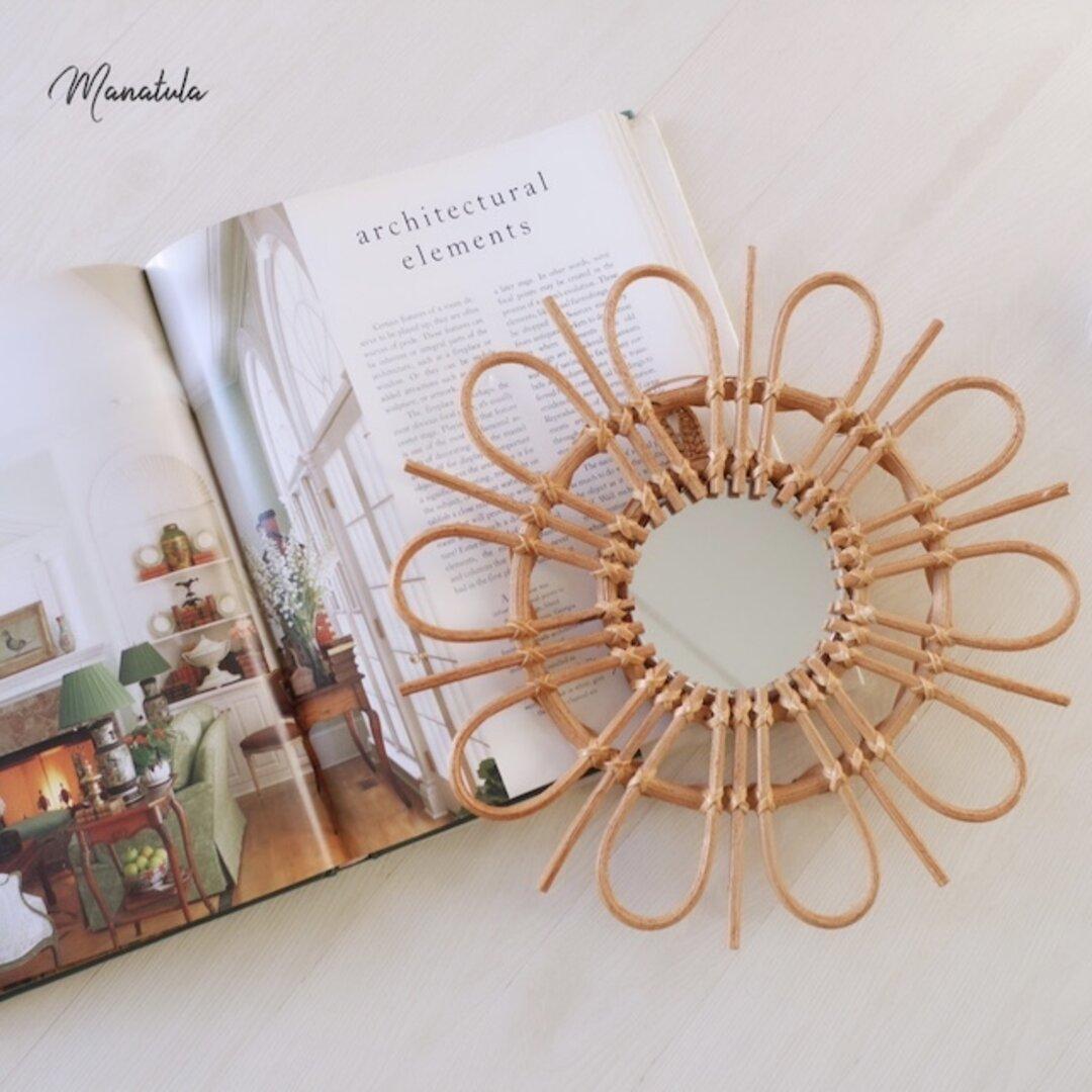 ラタンミラー/アラログミラー/brown flower mirror