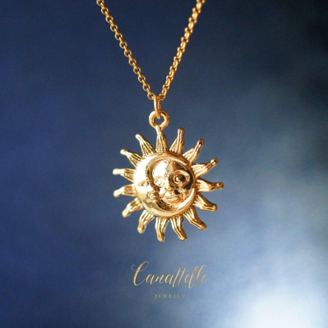 【残り1点】14kgf 太陽と月 ミドルレングス・ネックレス ~ lunesoleil ~(45cm)