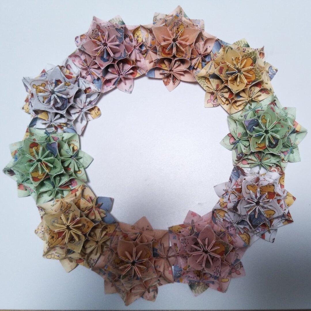 折り紙 折り紙リース お花リース