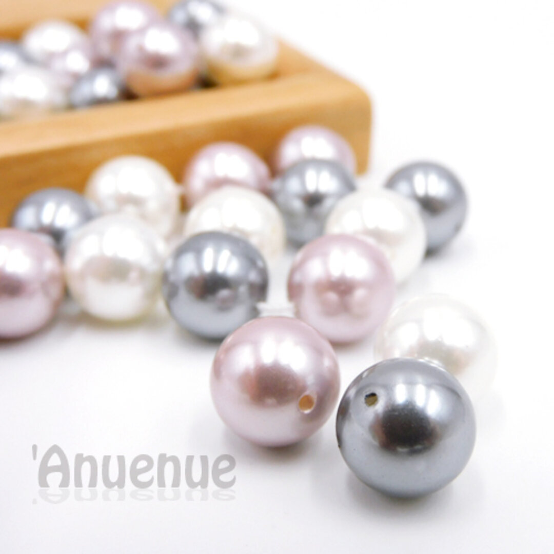 Natural Shell Pearl Beads / ラウンドパールビーズ【 3color mix /10mm】 6個