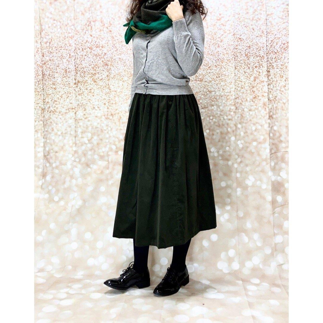 ナチュラル*ウエストすっきりポケットつきコーデュロイのSUダークカーキスカート受注生産[1601]k4