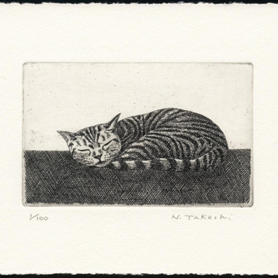 お昼寝の猫/銅版画 (作品のみ)