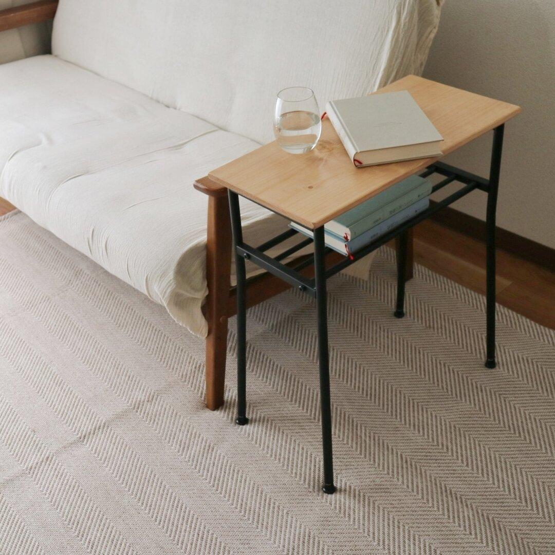 natural side two(サイドテーブル/テーブル/机/テレワーク/アイアン)
