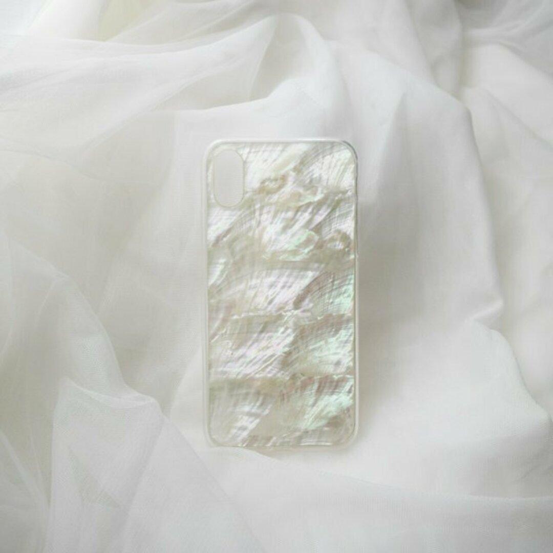 【iPhone 12シリーズ対応】自然なシェル素材<ホワイト>カラーデザイン(SPCa0078WT)◆スマホケース/iPhoneケース
