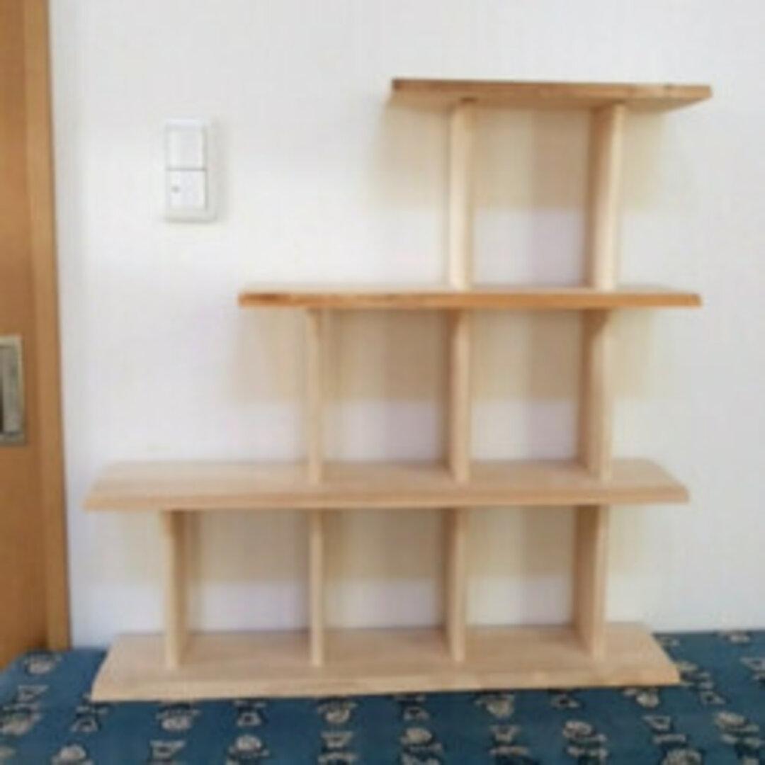 ひのきの本棚(階段状三段/右上がり)猫の階段や飾り棚にも!