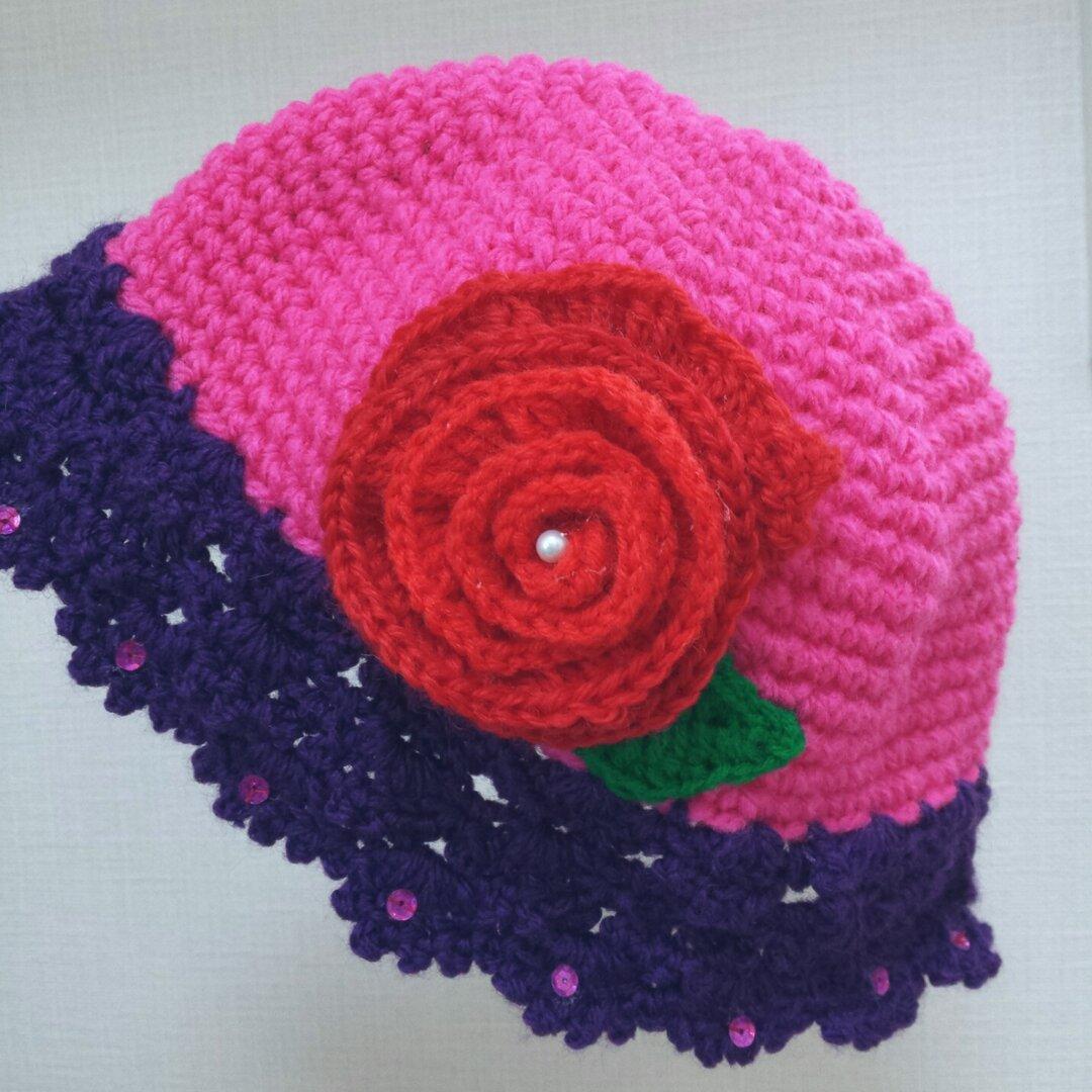 お花のニット帽 ブリムハット ⚪ 女の子