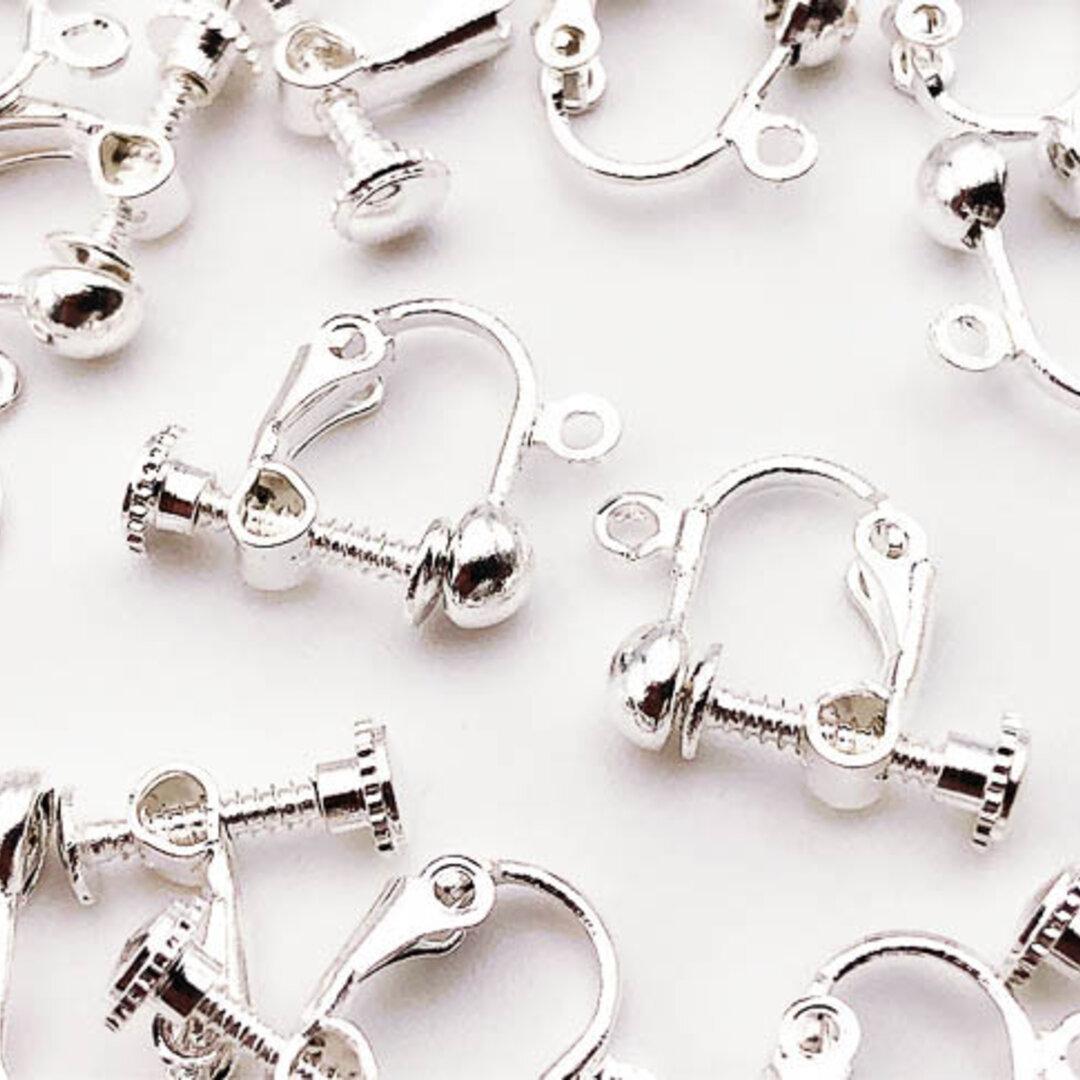 送料無料 イヤリングパーツ シルバー 白銀 丸皿 20個 カン付き ネジバネ式 イヤリング パーツ アクセサリー ハンドメイド 素材 (AP0513)