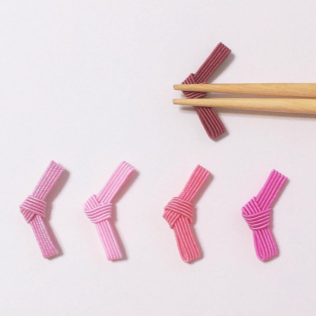 ピンク色で女の子全快!水引でできたお箸置き