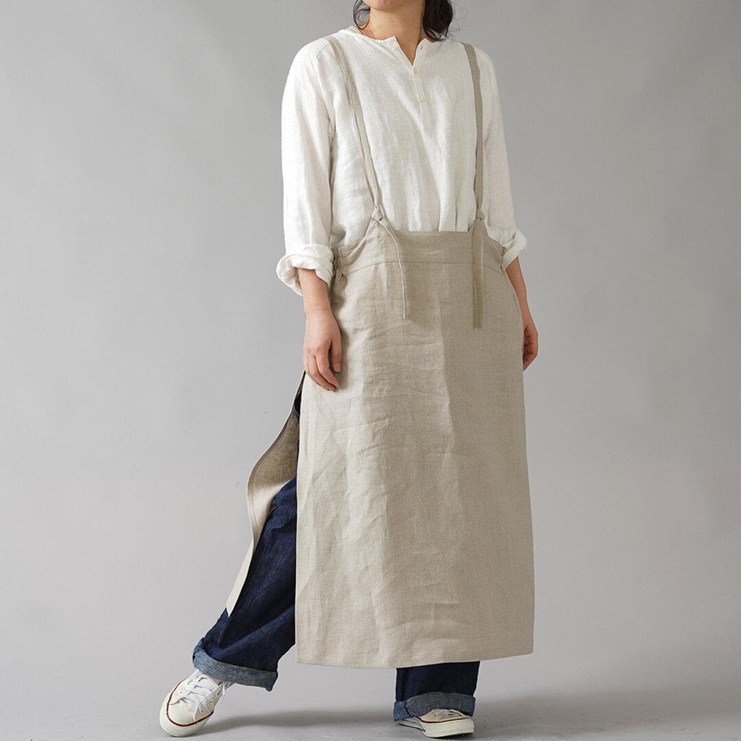 【wafu】中厚リネン タブリエ  /亜麻ナチュラル【free】a037a-amn2
