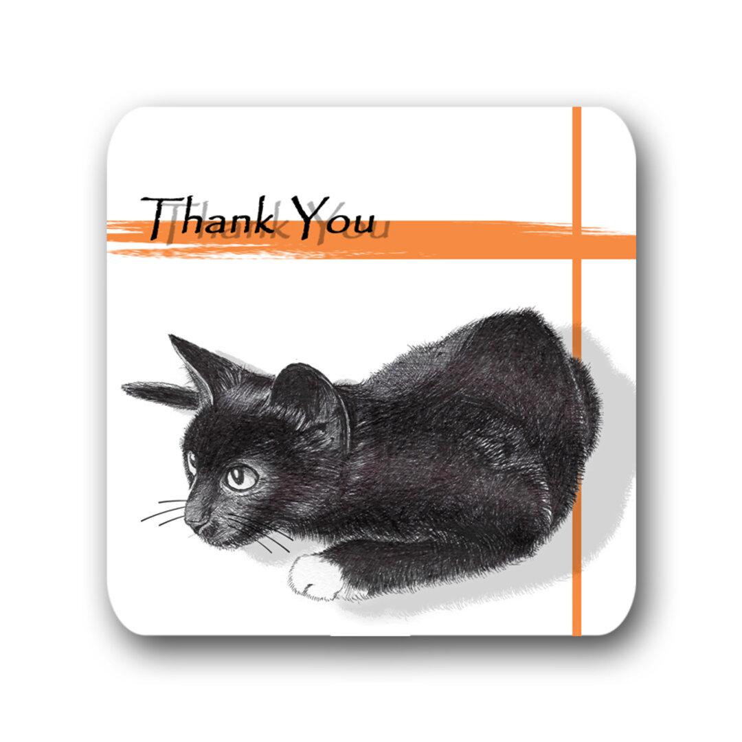 【猫のサンキュー メッセージカード タグ 正方形 スクエアカード】黒猫デザイン-オレンジ