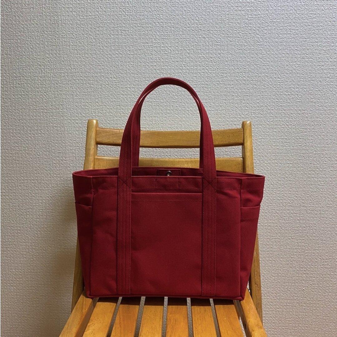 「混合トート」通勤トート「キャニオンレッド」倉敷帆布8号【受注制作】